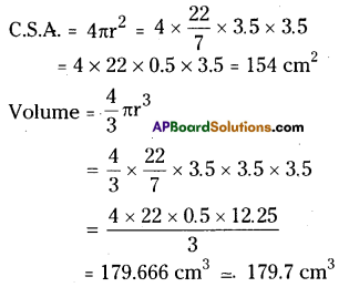 AP Board 9th Class Maths Solutions Chapter 10 Surface Areas and Volumes Ex 10.4 1