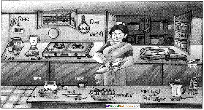 AP Board 6th Class Hindi Solutions सन्नद्धता कार्यक्रम Chapter 4 रसोई घर 1