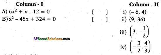 AP 10th Class Maths Bits Chapter 5 Quadratic Equations Bits 6